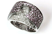 2.5 Ct Tw Natural Pastel Pink Sapphire And Diamond 14k White Gold Statement Ring
