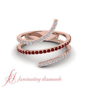 1/2 Carat Round Cut Diamond And Ruby Gemstone Open Spiral Design Ring For Cheap