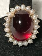 14k Yellow Gold Natural Cherry Amber And Seed Pearl Ring, 15.9 Grams, Size 8.75