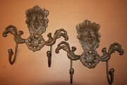 2 Large Gargoyle Wall Hook Solid Cast Iron 9 Tall, Leaf Man, Lot Of 2,h-94
