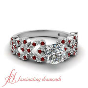 Round Red Ruby Engagement Ring Pave Set 0.80 Ct Round Cut Untreated Diamond Gia