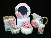 1987-rare-8 Pc-vanity Set+pitcher+frame-fitz And Floyd-ff Stickers-3d Roses-nos