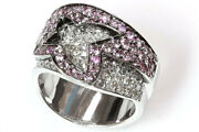 2.5 Ct Tw Natural Pink Sapphire And Diamond Solid 14k White Gold Statement Ring