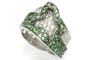 2.5 Ct Tw Natural Green Tsavorite And Diamond Solid 14k White Gold Statement Ring