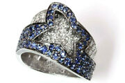 2.5 Ct Tw Natural Blue Sapphire And Diamond Solid 14k White Gold Statement Ring
