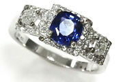 1.7 Ct Tw Natural Blue Ceylon Sapphire And Diamond 14k White Gold Engagement Ring