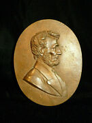 Rare Solid Copper Abraham Lincoln Merry Christmas Plaque - Circa 1900