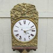 Antique French Morbier Country Clock With Repeater Bell Strike Repousse Facad