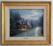 Thomas Kinkade Moonlight Lane Limited Edition S/n 493/2400 29 X 25 Framed