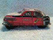Vintage 1950and039s Lupor 31 Fire Chief Friction Car Tin Lithograph Toy Made In Usa