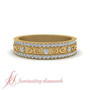 Affordable Round Diamond Vintage Wedding Band Double Row Channel Set 0.40 Ctw.
