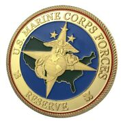 U.s. United States Marine Corps Forces Usmc Reserve   Military Gold Plated Coin