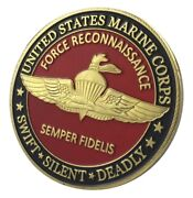 U.s. United States Marine Corps Usmc Force Reconnaissance Gold Plated Coin