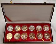 Shanghai Minta Set Of 12 Silvered Chinese Lunar Medal From 1981-1992 China Coin