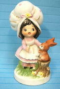 Lefton China Handpainted Figurine Country Big Hat Girl Forest Rabbit Pink 7988