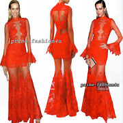 Jonathan Simkhai Collection Macramandeacute Lace Tiered Flared Hem Skirt Dress Gown Red