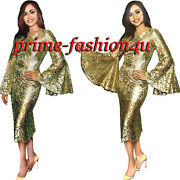 Dolce And Gabbana Flared Sleeve Gold Floral Lace Crystal Decorated Dress