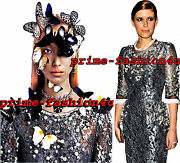 Dolce And Gabbana Metallic Floral Lace Crystal Hand Embellished Dress