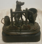 Antique Bronze Great Dane French Country Match Safe 1800and039s Watering Can Basket