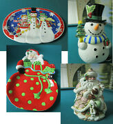 Fitz And Floyd Christmas Frosty And Friends Tray - Kringle Tray -cookie Jar - Pick 1
