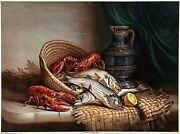 Antique And Xrare 1903 Chromolitho Ii Fish And Lobsters Muller Luchsinger And Co. Ny