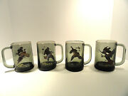 Ned Smith Painted Bird Green Glass Mugs / Steins With Gold Trim Set Of Four