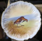 Antique Ls And S Limoges France 9 Plate Hand Painted Wild Bird