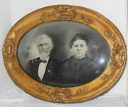 Antique Oval Victorian Gilt Picture Frame Convex Glass Ma And Pa Kettle 19x25