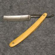 Mehl And Sapper Erie Pa 6-1/8 Straight Razor Ivory Colored Celluloid Handles Vtg