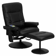 Flash Furniture Massaging Black Leather Recliner And Ottoman With Leather Wrapped