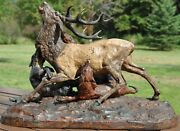 Massive Deer Hunt Cold Painted Bronze, Pierre Jules Mene Stag Attacked By Hounds