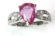 2.5 Ctw Natural Pink Sapphire Diamond 14k White Gold Solitaire Engagement Ring