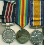 A Wwi M.m. Group Of Three Awarded To Corporal S. H. Robinson, 28th North West