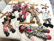 Lot Of 6 Vintage Marionettes Clowns Puppets Dolls Fairland International Co.