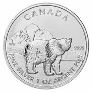 😃2011 Canada Canadian Grizzly Bear 1 Oz .9999 Fine Silver Coin