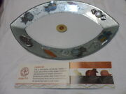 Lily Art Stylish Glass Plate Colored With Flower Oval Try