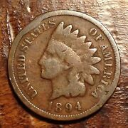 1894 Indian Head Penny Cent Nice Details Antique Rare Us Coin 923d