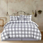 Full Queen King Bed Gray Grey White Buffalo Checked Plaid 7 Pc Comforter Set