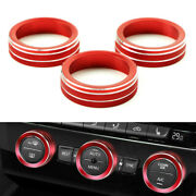 Red Aluminum Ac Climate Control Knob Ring Covers For 2018-up Volkswagen Atlas