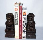 Vtg Chinese Heavy Bronze Foo Dog Imperial Guardian Lion Statue Figurine/bookends