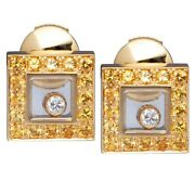 Chopard Happy Diamonds Yellow Gold And Sapphire Earrings Brand New 7060 Retail
