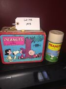 Vintage Peanuts Metal Lunchbox And Metal Thermos 1973 Lot 155