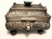 Judaica 1857 Moscow Rare Besomin Spice Container In .9475 Silver Filigree