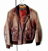 Vtg Distressed Brown Leather Wear Me Out Bomber Leather Jacket Sz 42/ L
