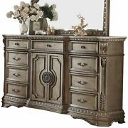 Acme Northville 9 Drawer Marble Top Dresser In Antique Silver