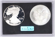 2005 Proof W And Uncirculated Silver American Eagle Danbury Mint 1oz .999 Silver