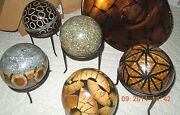5 Beautiful Vintage Paper Mache Art Spheres With Stands. Sale 385.00