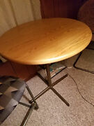 Vintage Metal Bar Table With Metal Sway Back High Bar High Chairs,excellent Cond