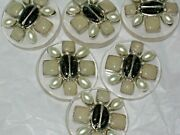 6 Metal Cc Logo Front Black Glass Pearl Buttons 30mm /under 11/4'' Lot 6
