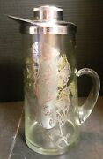 Vintage Sterling Silver Overlay Glass Iced Drink Pitcher 11.5 X 5.25 Excellent